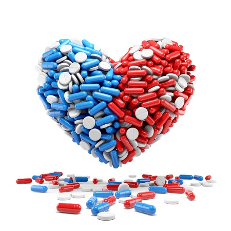 Heart - made up of pills and capsules  Medicines concept photo