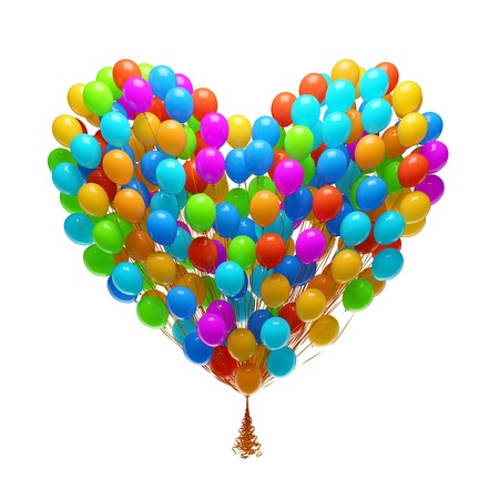 Big bunch of party balloons Heart shape  Isolated on white background