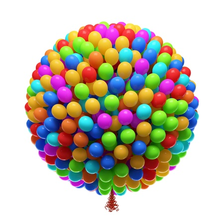 bunch up: Big bunch of party balloons  Isolated on white background