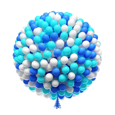 party balloons: Big bunch of party balloons  Shpere shaped  Isolated on white background