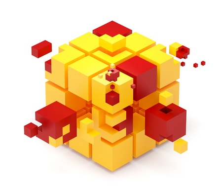 out of order: Teamwork concept  Cubes puzzle