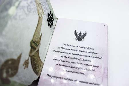 Voorwoord van het paspoort van Thailand op witte achtergrond Stockfoto