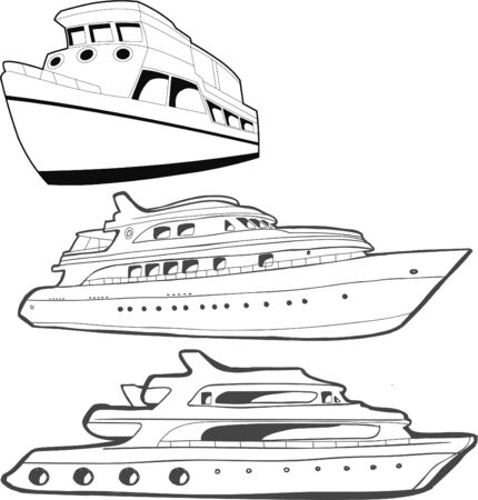 vector illustration of ships in black and white