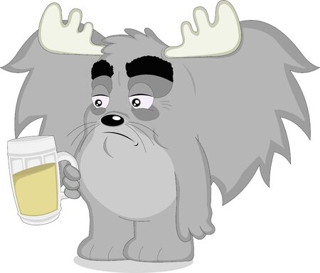 vector illustration of a cartoon animal with a beer in his hand