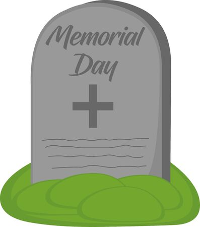 Vector illustration of a tombstone cartoon, from United States Memorial Day Çizim