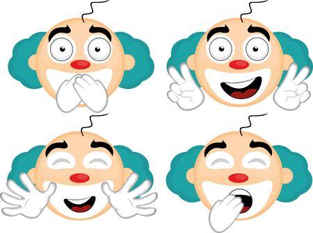 Vector illustration of expressions of a clown cartoon Ilustración de vector
