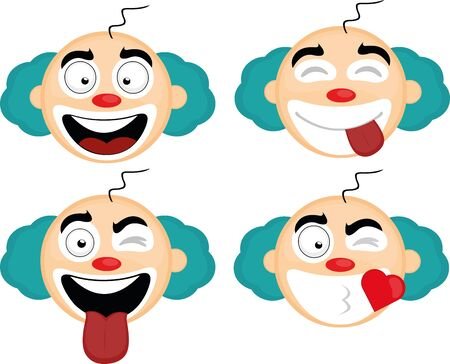 Vector illustration of expressions of a clown cartoon