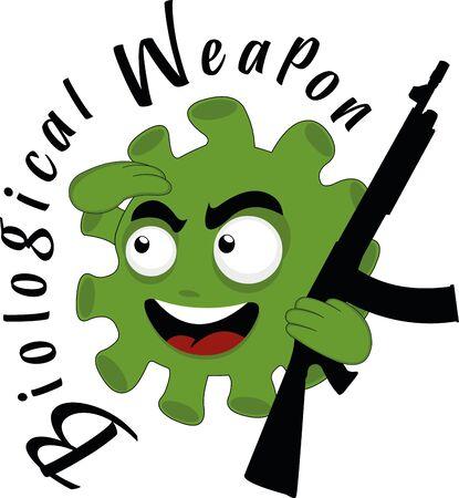 Vector illustration of a coronavirus cartoon, represented as a biological weapon Ilustracja