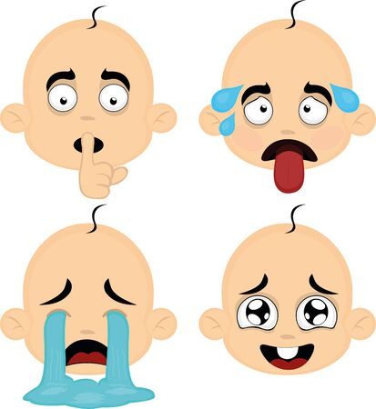 Vector illustration of expressions of a babys face cartoon