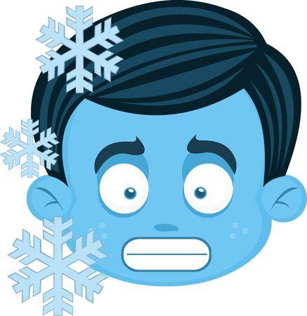 Vector illustration of a frozen cartoon boys face 向量圖像