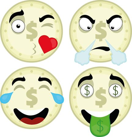 Vector illustration of expressions of a coin cartoon