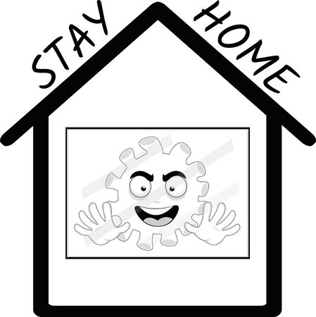 Vector illustration of the concept of staying at home, against the coronavirus Ilustrace
