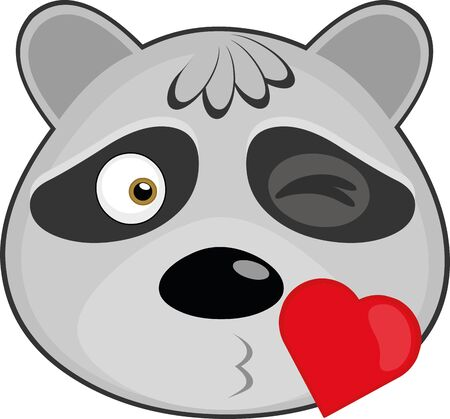 Vector illustration of the face of a cartoon raccoon giving a kiss Illustration