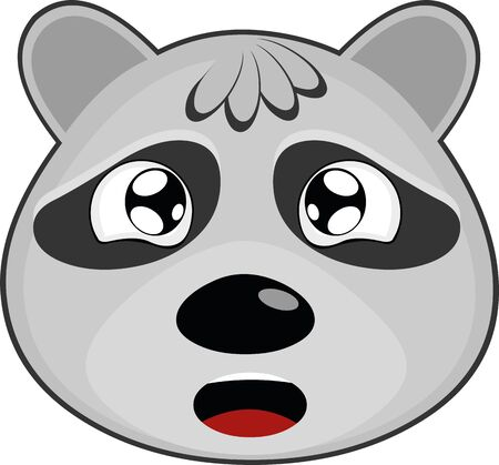 Vector illustration of the face of a raccoon cartoon, with a tearful expression