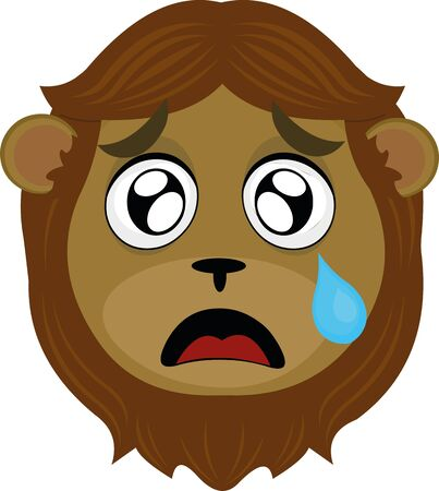 Vector illustration of a cartoon lion's face, with a tearful expression