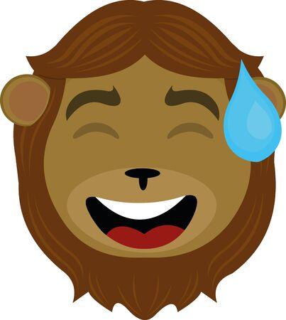 Vector illustration of a lion's face cartoon Illustration