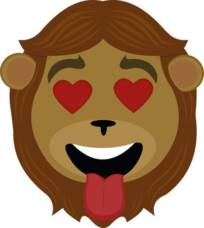 Vector illustration of lion face cartoon in love Vectores