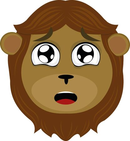 Vector illustration of the face of a cartoon lion with his surprised eyes