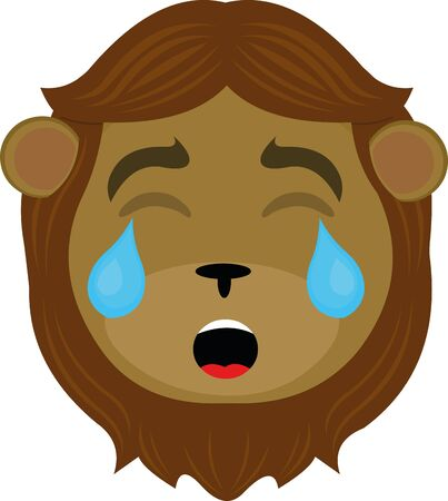 Vector illustration of the face of a cartoon lion crying