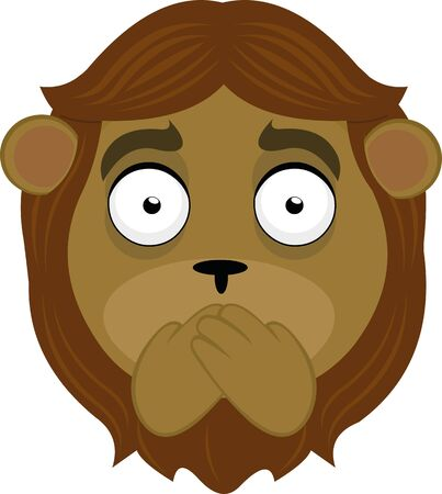 Vector illustration of the face of a lion cartoon