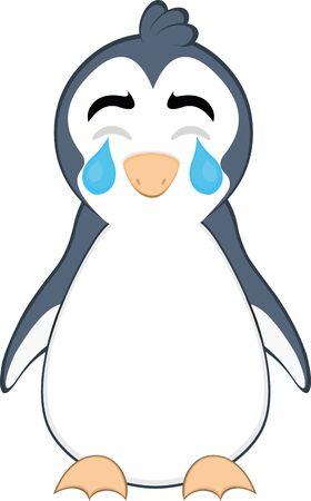Vector illustration of a cartoon penguin crying Illustration