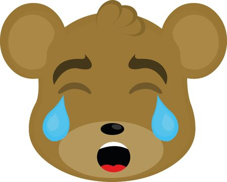 Vector illustration of a bear face crying cartoon