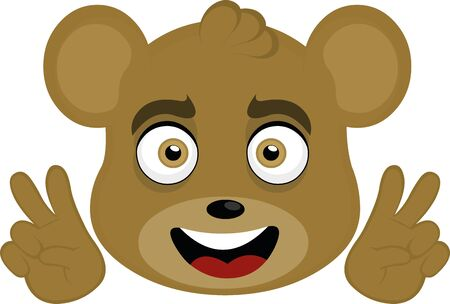 Vector illustration of a cartoon bear face making the peace and love sign