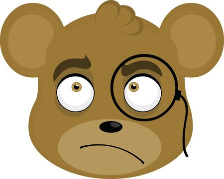 Vector illustration of the face of a bear thinker cartoon