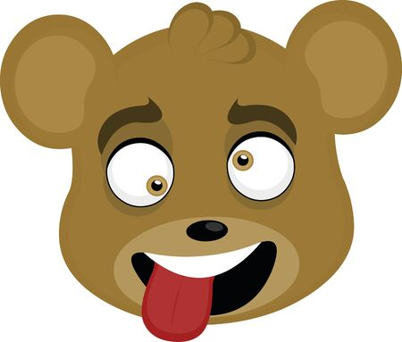 Vector illustration of the face of a cartoon bear playing the fool