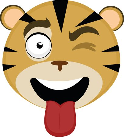 Vector illustration of the face of a friendly and cheerful tiger cartoon