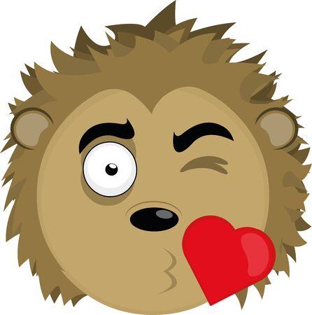 Vector illustration of a cartoon porcupine's face in love Çizim
