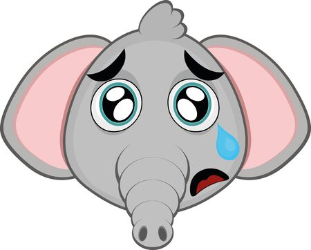 Vector illustration of the face of a cute cartoon elephant with a sad expression