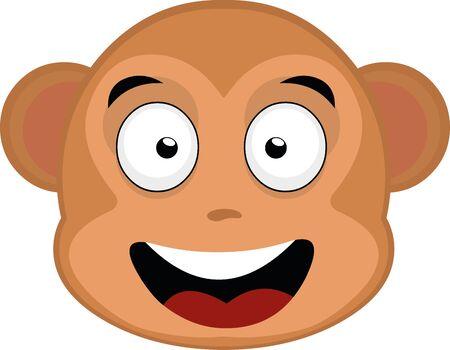 Vector illustration of a monkey's face cartoon Vettoriali