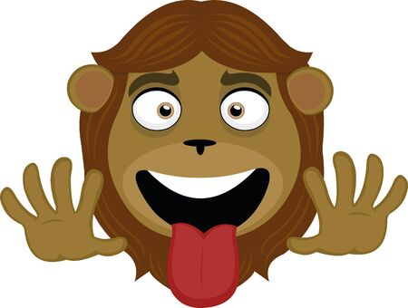 Vector illustration of the face of a funny lion cartoon Vectores