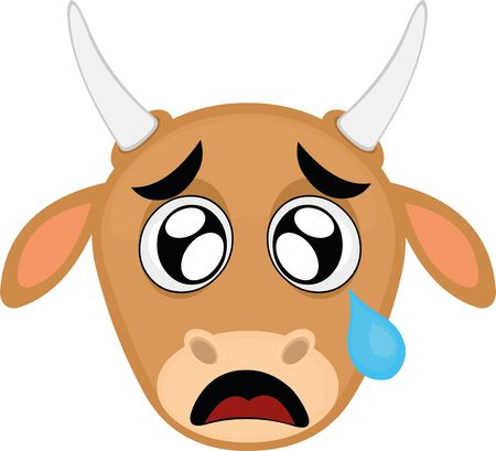 Vector illustration of the face of a cartoon cow, with a sad expression