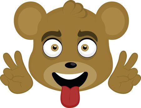 Vector illustration of the face of a cute bear cartoon