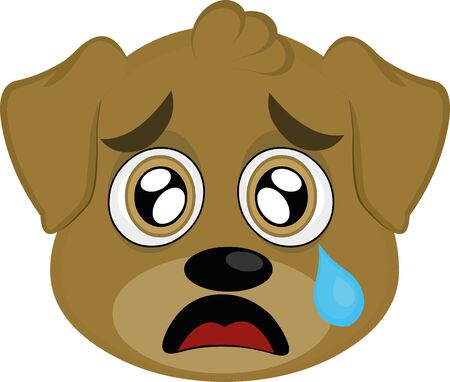 Vector illustration of a cartoon dog's face with a sad expression Illustration