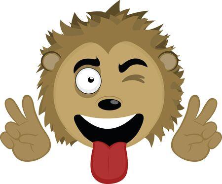 Vector illustration of the face of a cute porcupine cartoon Çizim