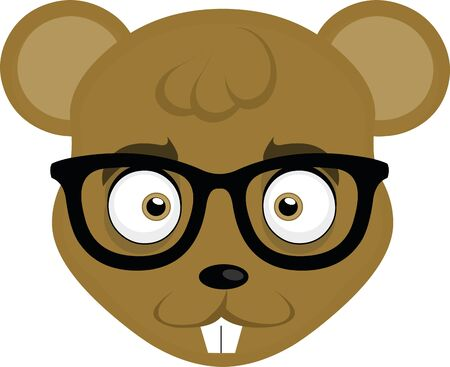 Vector illustration of the face of a cute cartoon mouse with glasses