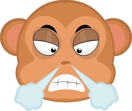 Vector illustration of an angry cartoon monkey face Illustration