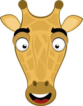 Vector illustration of the face of a cute giraffe cartoon