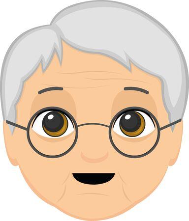 Ilustración vectorial de dibujos animados de la cara de una abuela