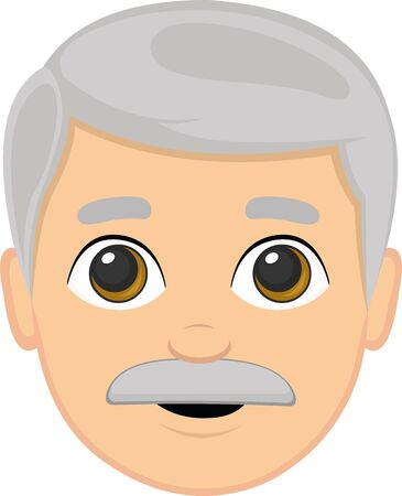 Vector illustration of a grandfather's face cartoon