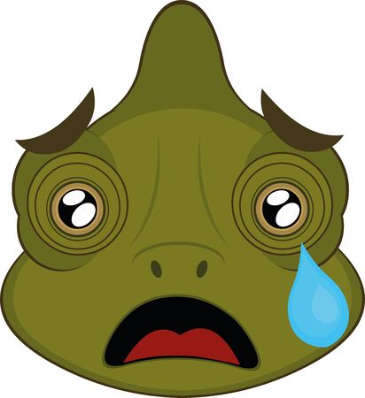 Vector illustration of the face of a chameleon cartoon