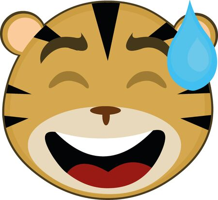 Vector illustration of the face of a cute tiger cartoon Vectores