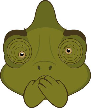 Vector illustration of the face of a chameleon cartoon Иллюстрация