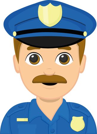 Vector illustration of the face of a policeman cartoon