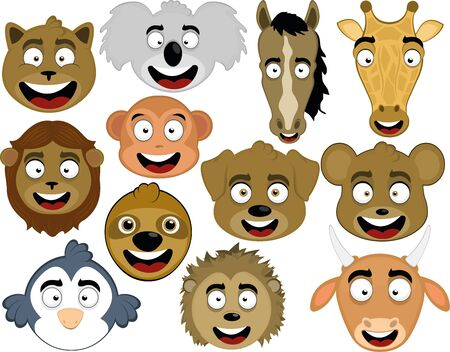 Vector illustration of the face of various wild and domestic animals