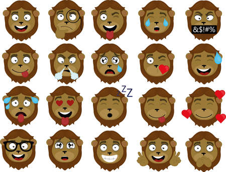 Vector illustration of a lion's face expressions cartoon