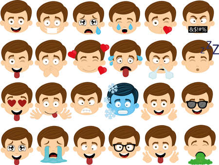 Vector illustration of various expressions of a boy's face cartoon